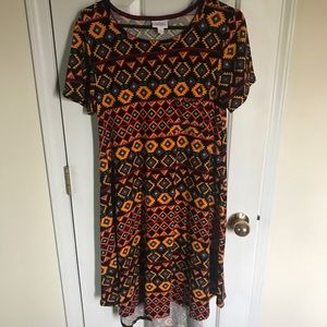 Lularoe Aztec Carly printed colorful dress size S
